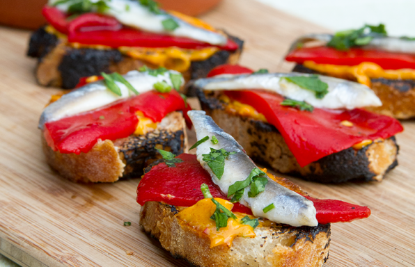 Roasted Bruschetta with Roasted Peppers and White Anchovies